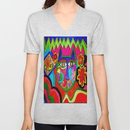 Abstract Catface with flowers Unisex V-Neck