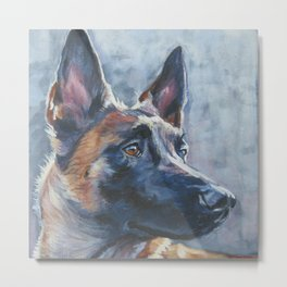 beautiful Belgian Malinois dog art portrait Beautiful Fine Art Dog Painting by L.A.Shepard Metal Print