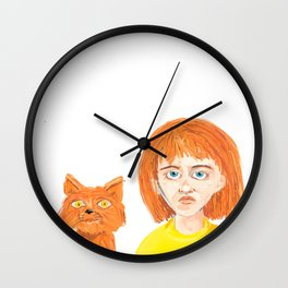 Girl and her cat Wall Clock