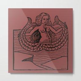 Mermaid on Marsala Metal Print