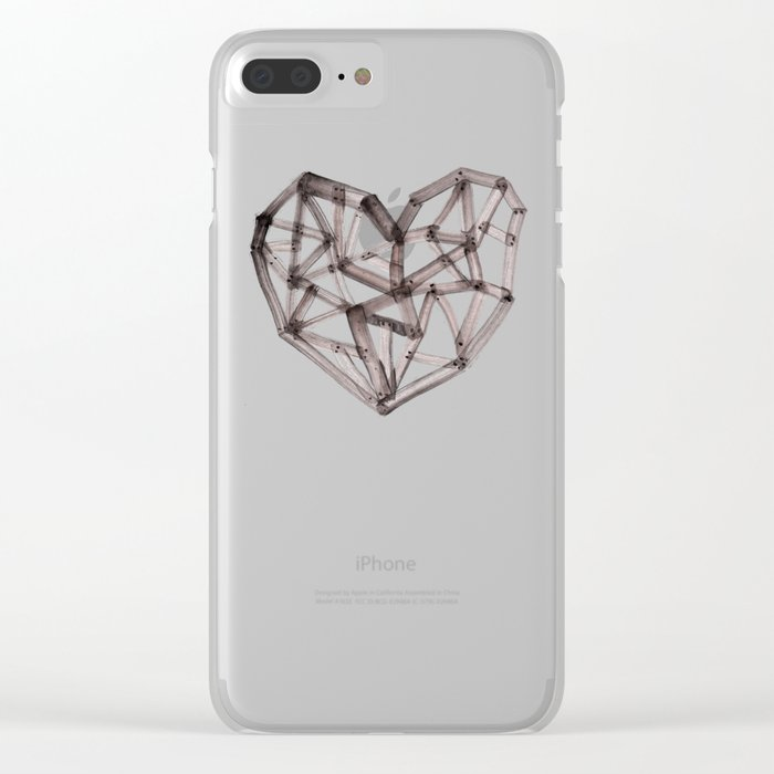 Wooden Heart Clear iPhone Case