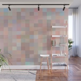 geometric square pixel pattern abstract in pink and blue Wall Mural