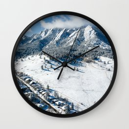 Snowy Flatirons Aerial Wall Clock