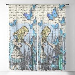 The Key To Wonderland - Alice in Wonderland on A Vintage Textbook Sheer Curtain