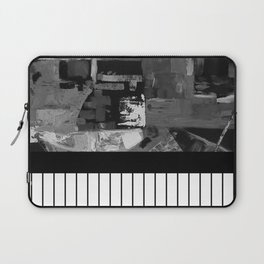 B&W II - Black and white, abstract, contrasting pattern Laptop Sleeve