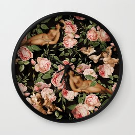 Sleeping Antique Venus in Roses Guarded By Baroque Angels Wall Clock