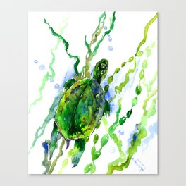 Green River Turtle Olive green Wall art Canvas Print