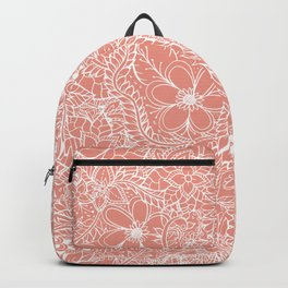 Modern trendy white floral lace hand drawn pattern orange pink Backpack