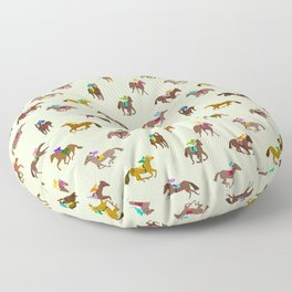 Off to the Horse Races (Mint) Floor Pillow