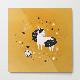 Stellar Unicorn with Heart Crystal Metal Print