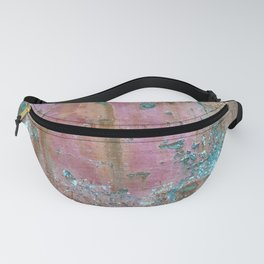 Abstract turquoise flowers on colorful rusty background Fanny Pack
