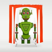 robot Shower Curtains featuring Robot by subpatch