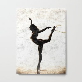 Dancing in white - sexy naked woman, topless ballerina girl, erotic nude artwork, adult art Metal Print