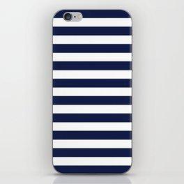 Navy Blue Nautical Stripe H Minimal iPhone Skin