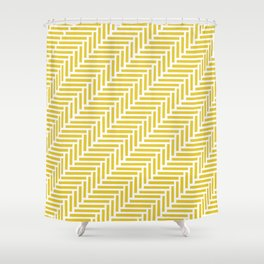 Herringbone 45 Yellow Shower Curtain