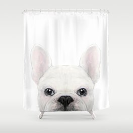 French bulldog white Dog illustration original painting print Shower Curtain
