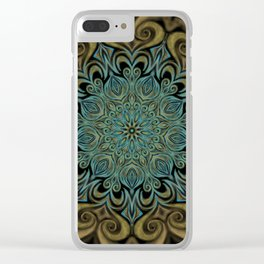 Teal and Gold Mandala Swirl Clear iPhone Case