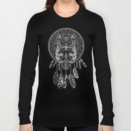 White Owl Dreamcatcher Aztec Pattern Long Sleeve T-shirt