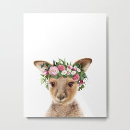 Baby Kangaroo With Flower Crown, Baby Animals Art Print By Synplus Metal Print