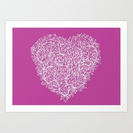 Heart of Leaves white on pink Art Print