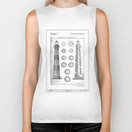 Vintage Bodie Island Lighthouse Diagram Biker Tank
