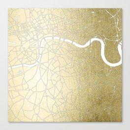 Gold on White London Street Map II Canvas Print