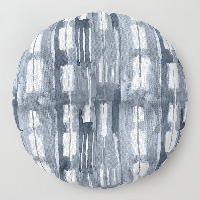 Simply Shibori Lines in Indigo Blue on Lunar Gray Floor Pillow