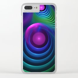 Beautiful Rainbow Marble Fractals in Hyperspace Clear iPhone Case