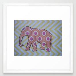 Elephant- Yellow Chevron Framed Art Print