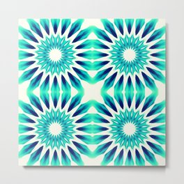 Pinwheel Flowers Turquoise Teal Watercolor Metal Print