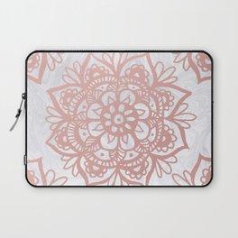 Rose Gold Mandalas on Marble Laptop Sleeve