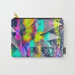 succulent plant with painting abstract background in green pink yellow purple Carry-All Pouch