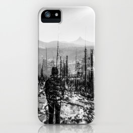 Girl Gazing at Mount Washington in Oregon - Santiam Pass - Holga black and white double exposure film photograph iPhone Case