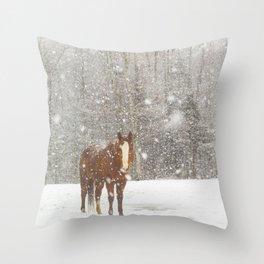 Western Winter Wonderland Throw Pillow