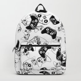 Video Game Black on White Backpack