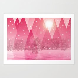 Magic winter pink Art Print