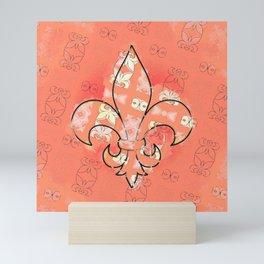 fleur de lis pattern in orange Mini Art Print