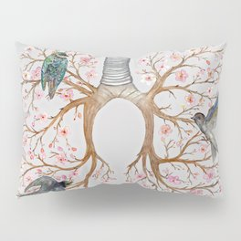 Blooming Lungs: Human Anatomy, Floral Cherry Blossom Pillow Sham