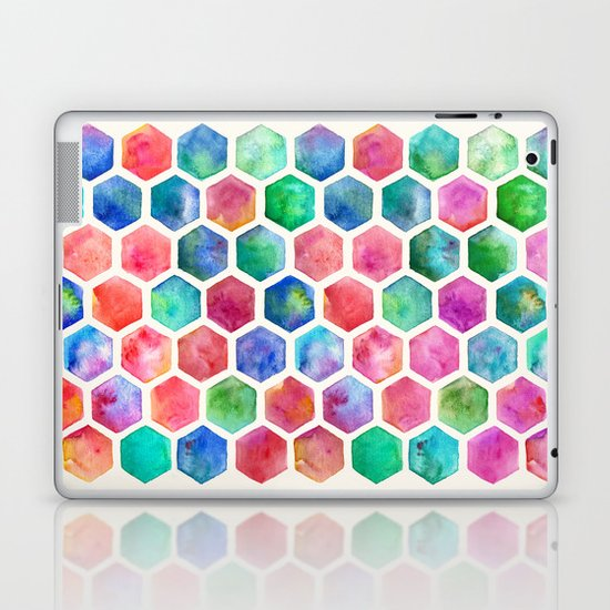 Hand Painted Watercolor Honeycomb Pattern Laptop & iPad Skin