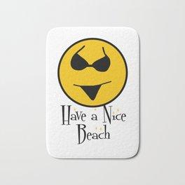 Smiley Bikini Have a Nice Beach Day In White Bath Mat
