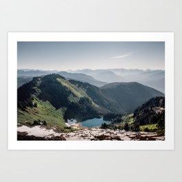Hazy Blue Sky Mountain Lake Art Print