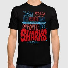 Opposed to Sharks MEDIUM Black Mens Fitted Tee