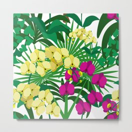 Tropical plants and orchid flowers on white background. Metal Print