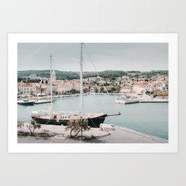 Supetar harbor on the island of Brac in Croatia Art Print