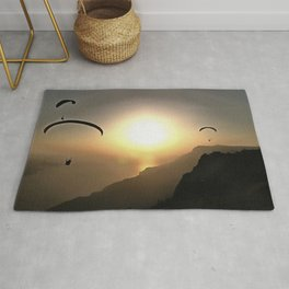 Paragliders Flying Without Wings Rug