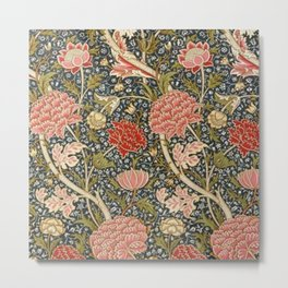 William Morris Sunflowers and Pink Peonies Floral Textile Tapestry Pattern Metal Print