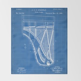 Steinway Piano Patent - Piano Player Art - Blueprint Throw Blanket