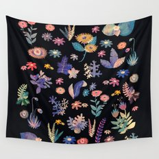 color flowers in the dark Wall Tapestry