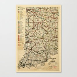 Railroad Map of Indiana (1896) Canvas Print