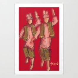 Bhangra dancers Red Art Print